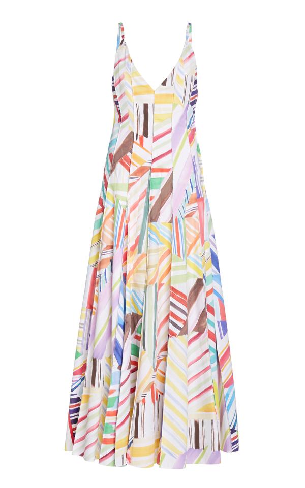 Rosie Assoulin Million Pleats Printed Cotton-poplin Maxi Dress In White
