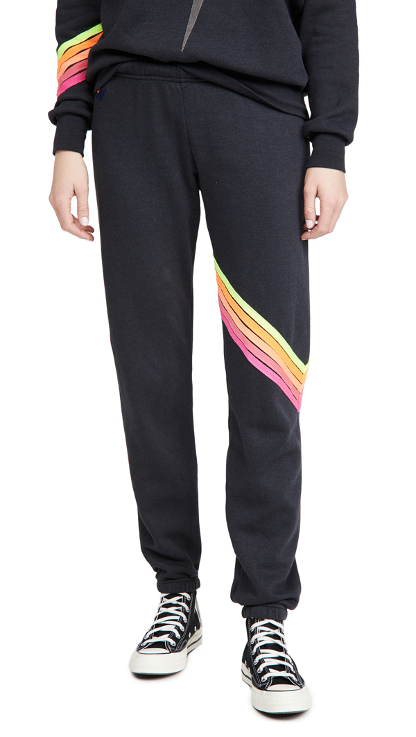 Aviator Nation Women's Chevron 5 Stripe Sweatpants In Charcoal/neon
