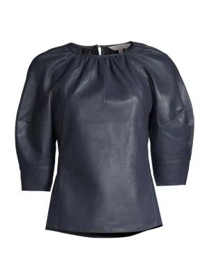 Rebecca Taylor Women's Vegan Leather Three-quarter Sleeve Top In Dark Navy