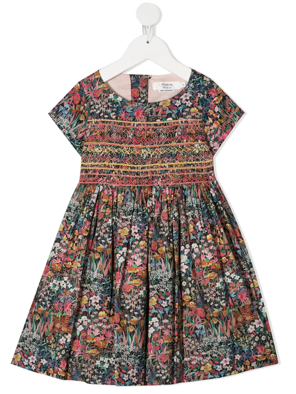 Bonpoint Kids' Floral Print Dress With Smock And Embroidery Detail In Multicoloured