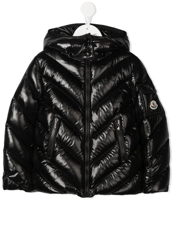 Moncler Kids' Padded Zip-up Down Jacket In Black