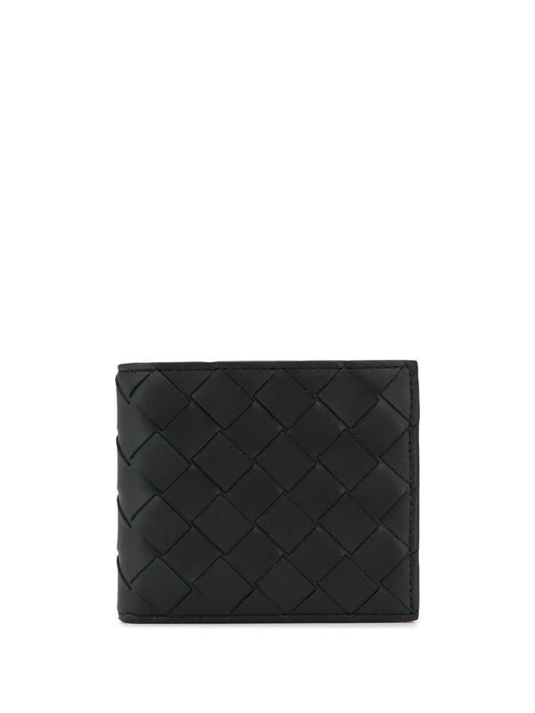Bottega Veneta Men's Woven Billfold Wallet In Black