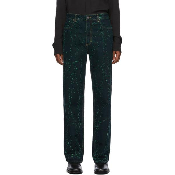Eckhaus Latta Paint-splattered Wide-leg Jeans In Viridispltr