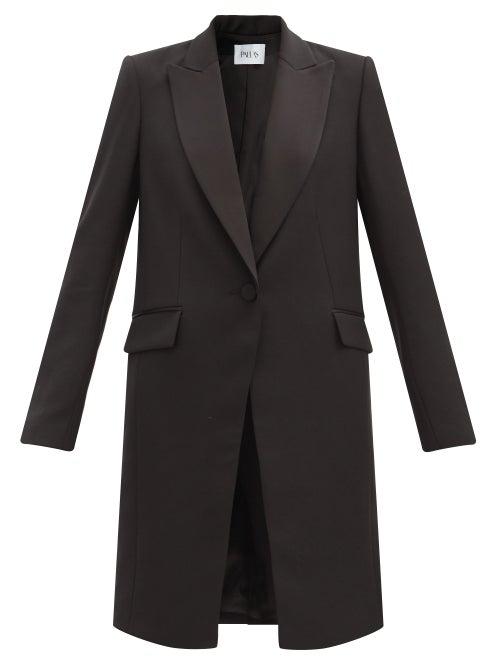 Pallas Paris Hussard Single-breasted Satin-lapel Wool Coat In Black