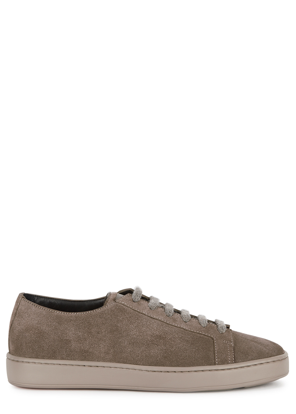 Santoni Taupe Suede Sneakers In Testa Di Moro