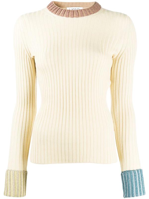 Lanvin Virgin Wool Blend Knit Sweater In Neutrals