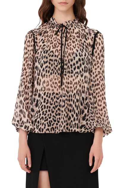 Maje Lip Leopard Print Tie Neck Top In Multicolor