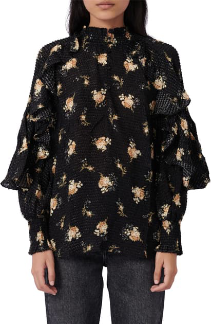 Maje Letril Floral Print Ruffled Top In Grunge Flowers Black Camel