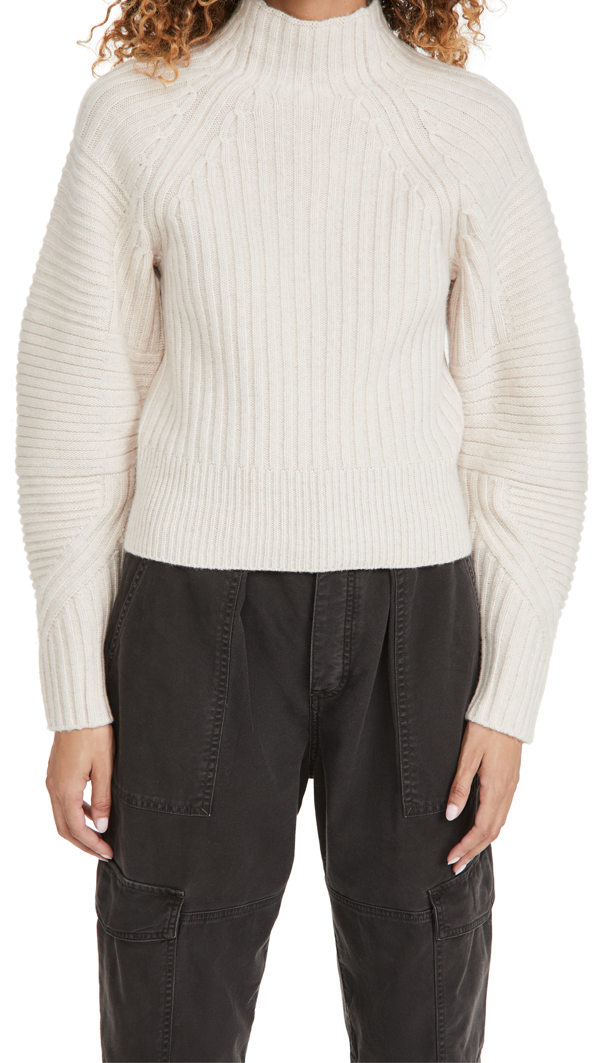 Rag & Bone Oakes Mock Neck Merino Wool Sweater In Turtledove
