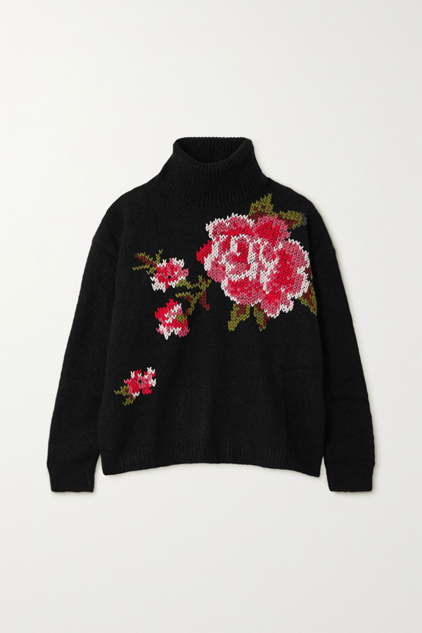 Red Valentino Embroidered Knitted Turtleneck Sweater In Black