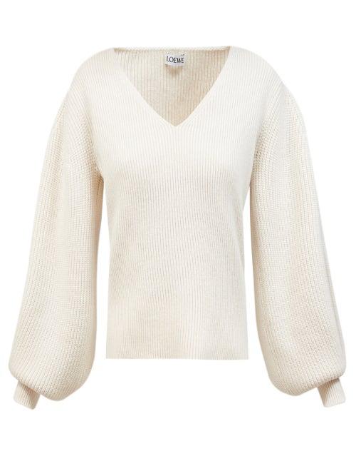 Loewe Balloon Sleeve V-neck Sweater In Ivory