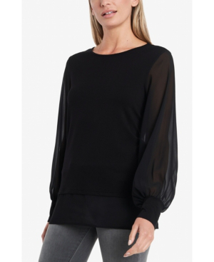 Vince Camuto Women's Long Sleeve Knit Top With Chiffon Sleeves In Rich Black