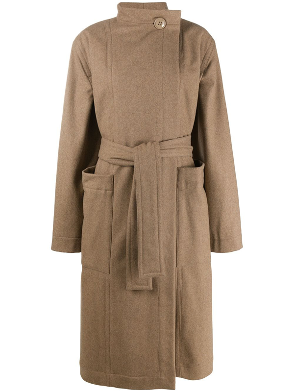 Lemaire Buttoned Collar Trench Coat In Neutrals