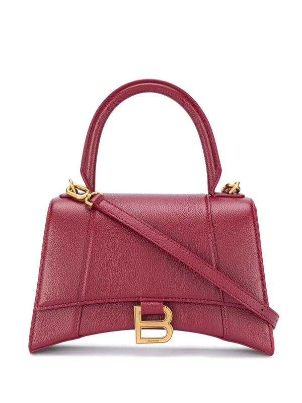 Balenciaga Small Hourglass Leather Top Handle Bag In Red