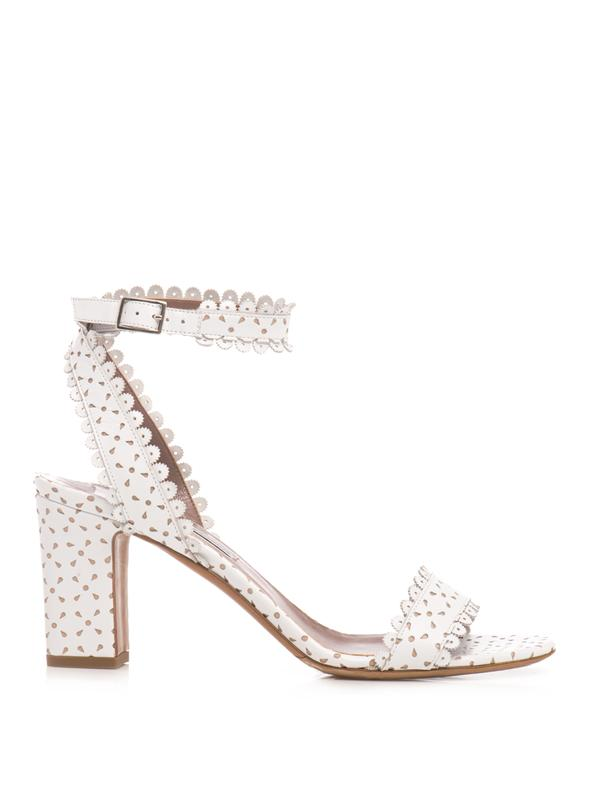 Tabitha Simmons 70Mm Letitia Perforated Leather Sandals In White