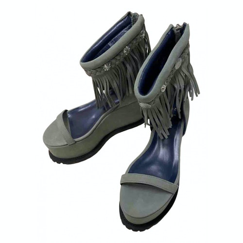 Pre-owned Sacai Grey Leather Sandals