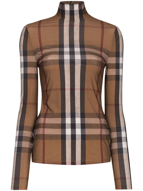 Burberry Vintage Check Mesh Top In Brown