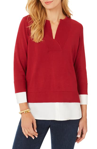 Foxcroft Callahan Layered Pullover In Mum Red