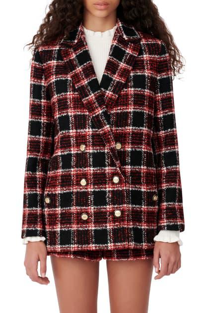 Maje Vitrita Tweed Checked Tailored Blazer In Multicolor