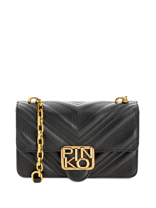 Pinko Quilted Leather Shoulder Bag In Black
