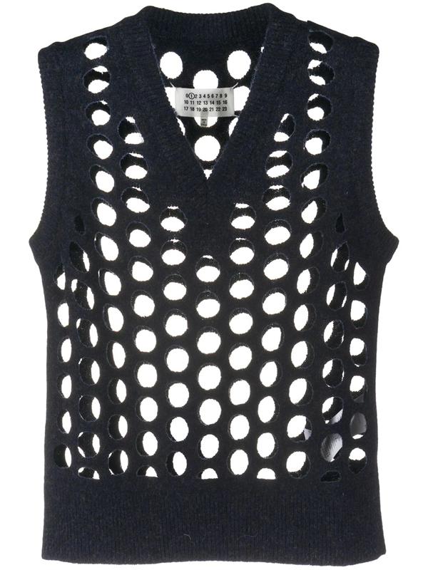 Maison Margiela Knitted Laser-cut Vest In Blue
