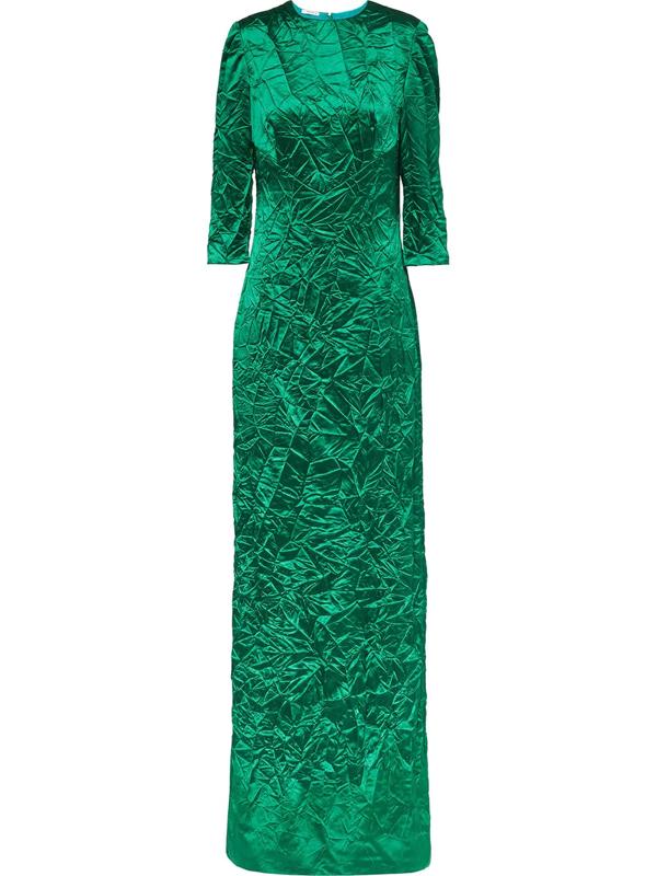 Miu Miu Crinkled-effect Floor-length Gown In Green