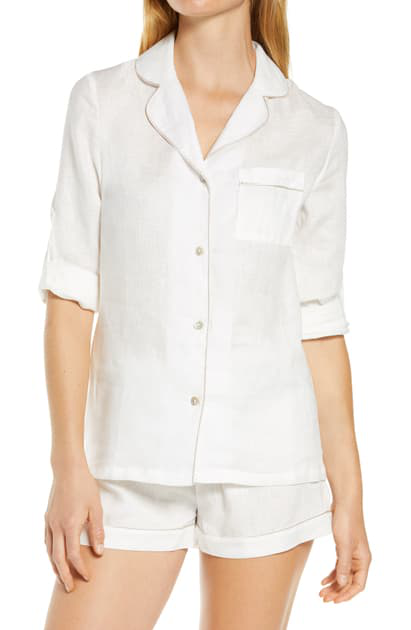 Homebodii Long Sleeve Linen Short Pajamas In White