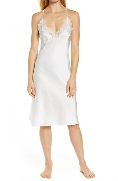 Homebodii Donatella Lace Trim Satin Chemise In White