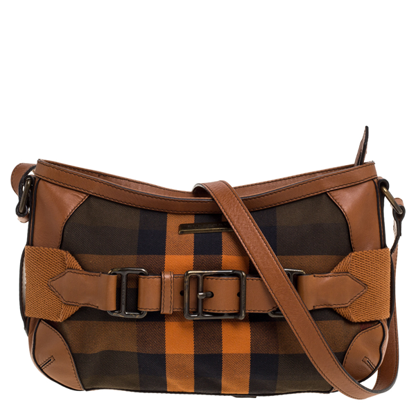 Pre-owned Burberry Brown/orange Check Canvas And Leather Belted Crossbody Bag