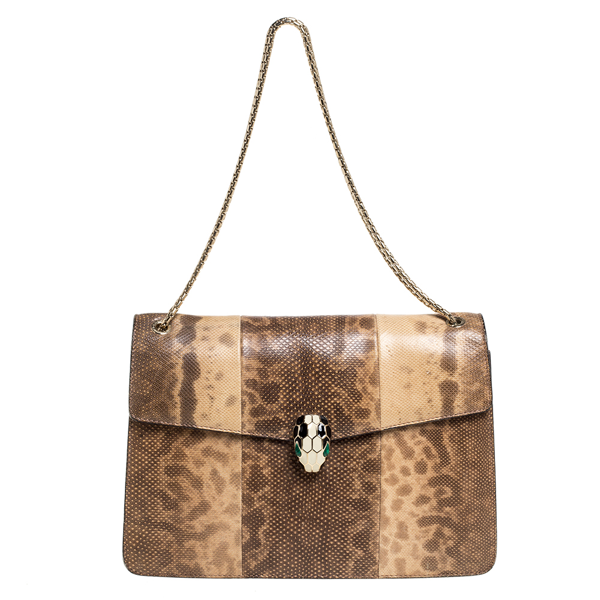 Pre-owned Bvlgari Beige Karung Medium Serpenti Forever Flap Shoulder Bag