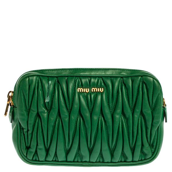 Pre-owned Miu Miu Green Matelasse Leather Mini Crossbody Bag