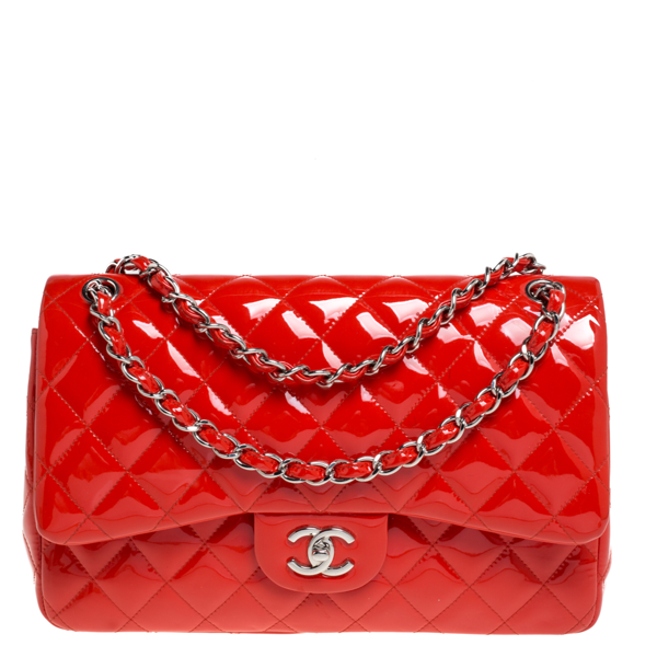 Pre-owned Chanel Orange Quilted Patent Leather Jumbo Classic Double Flap Bag