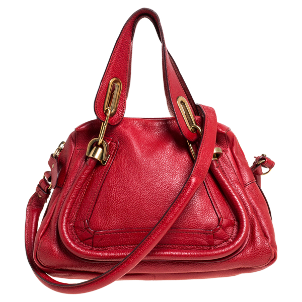 Pre-owned Chloé Red Leather Small Paraty Shoulder Bag