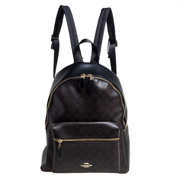 Pre-owned Coach Brown/black Signature Coated Canvas And Leather Charlie Backpack