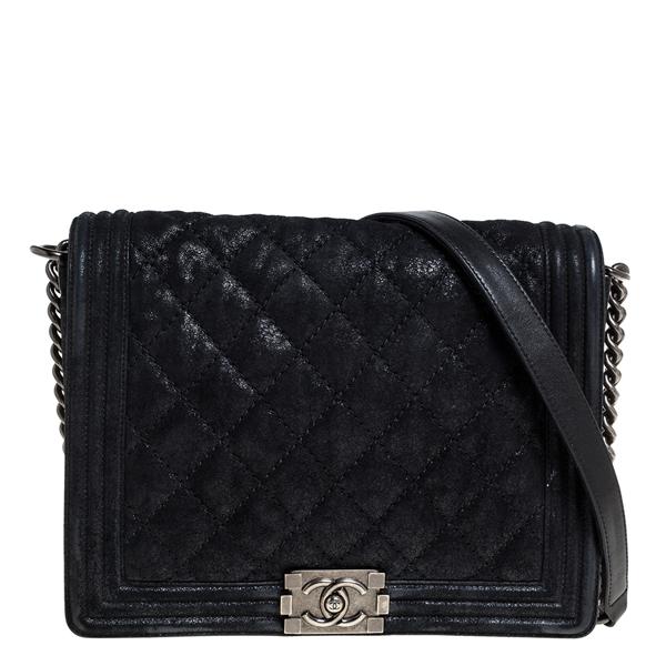 Pre-owned Chanel Black Quilted Crackled Nubuck Leather Large Boy Bag