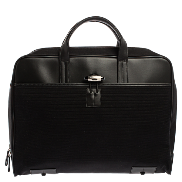 Pre-owned Montblanc Black Canvas And Leather Nightflight Document Briefcase Bag