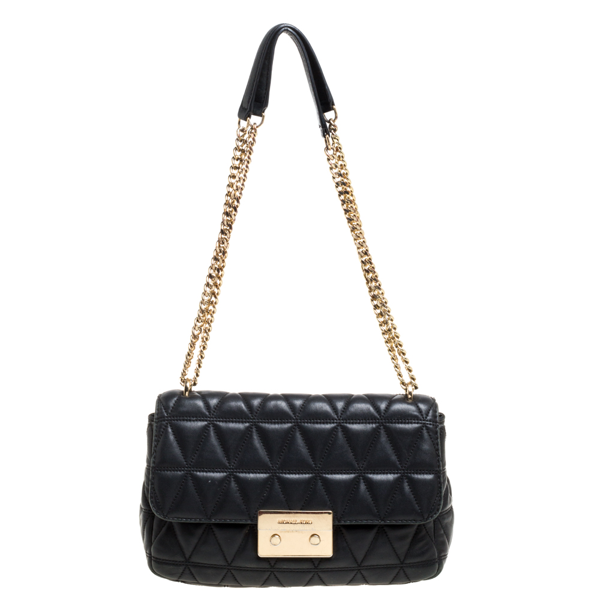 Pre-owned Michael Kors Micheal Kors Black Leather Large Sloan Shoulder Bag