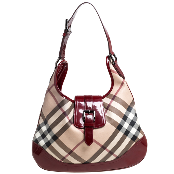 Pre-owned Burberry Beige/red Nova Check Pvc And Patent Leather Large Brooke Hobo
