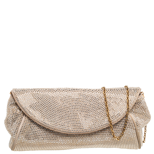 Pre-owned Dolce & Gabbana Beige Crystal Embellished Suede Flap Chain Clutch