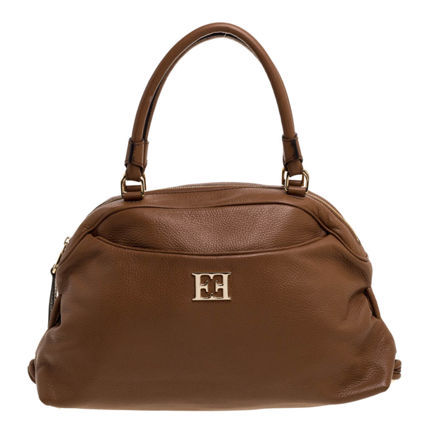 Pre-owned Escada Brown Leather Metal Logo Satchel