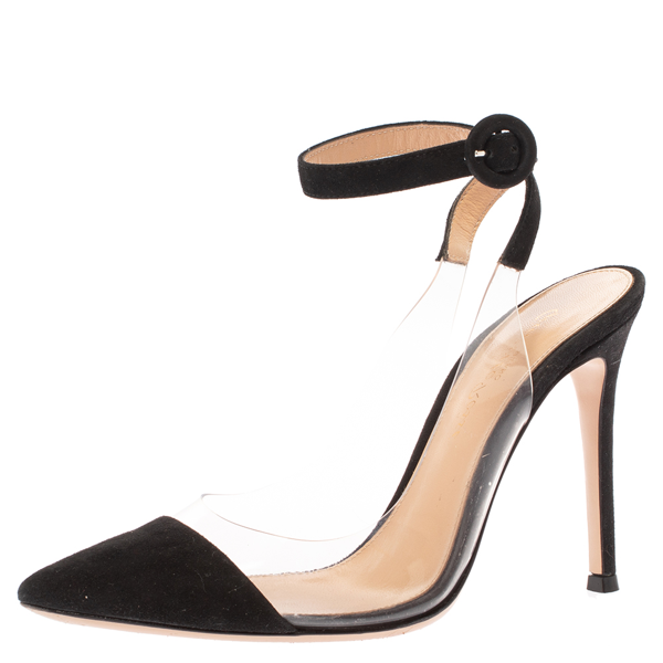 Pre-owned Gianvito Rossi Black Pvc And Leather Anise Pointed Toe Ankle Strap Sandals Size 34.5