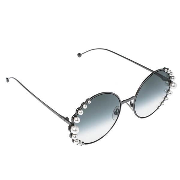 Pre-owned Fendi Faux Pearl/ Green Gradient Ff0295 Round Sunglasses