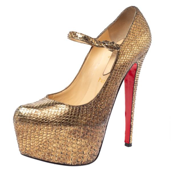 Pre-owned Christian Louboutin Metallic Gold Python Lady Daf Mary Jane Platform Pumps Size 37.5