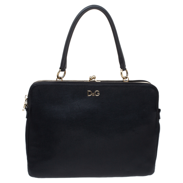 Pre-owned Dolce & Gabbana Black Leather Small Lily Twist Kiss Top Handle Bag