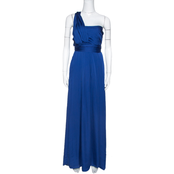 Pre-owned Ch Carolina Herrera Royal Blue Silk Gathered Maxi Dress S