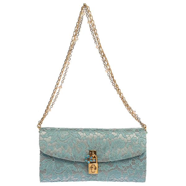 Pre-owned Dolce & Gabbana Light Blue Lace And Satin Padlock Chain Clutch