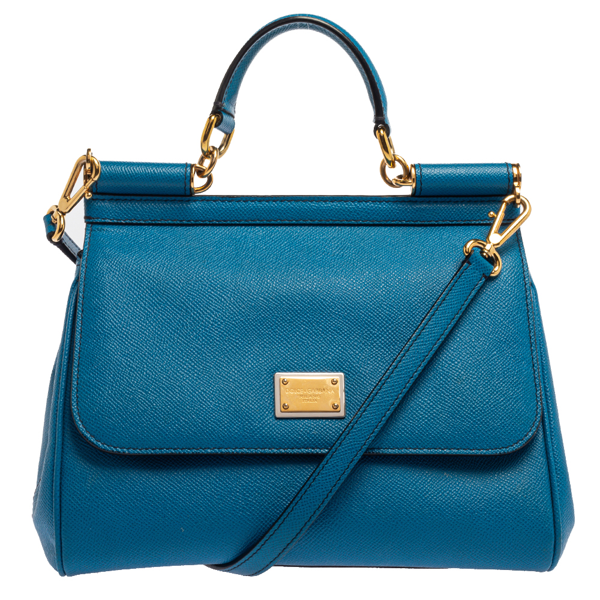 Pre-owned Dolce & Gabbana Blue Leather Medium Miss Sicily Top Handle Bag