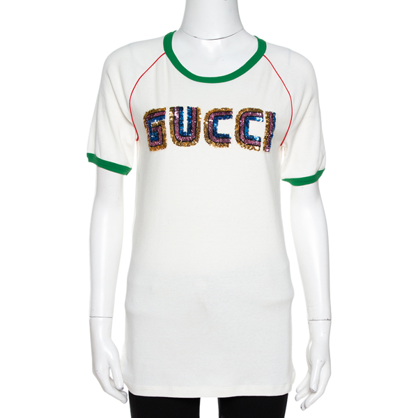 Pre-owned Gucci Cream Knit Sequin Logo Applique Fitted T Shirt Xl