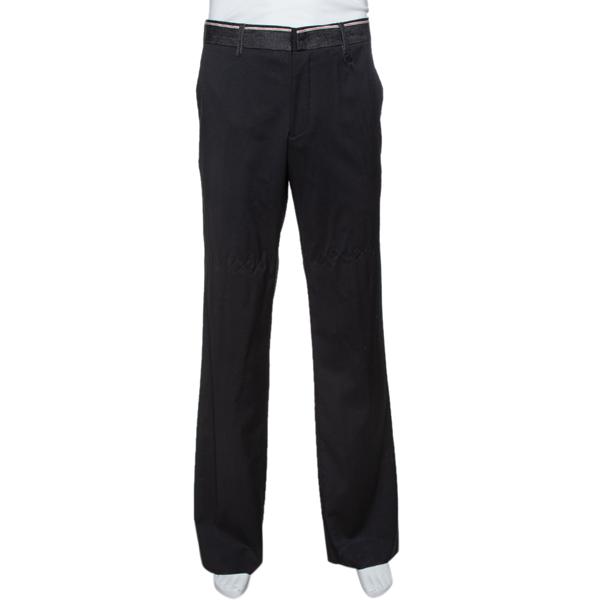 Pre-owned Emporio Armani Black Wool & Denim Waist Trim Trousers Xl