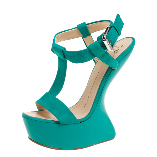 Pre-owned Giuseppe Zanotti Turquoise Blue Suede T Strap Platform Heel Less Wedge Sandals Size 38